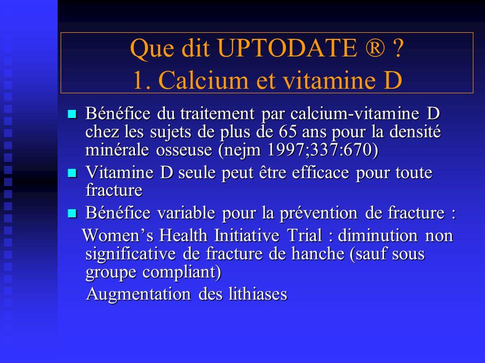 Bénéfice du traitement par calcium-vitamine D chez les sujets de plus de 65 ans pour la densité minérale osseuse (nejm 1997;337:670) Bénéfice du trait