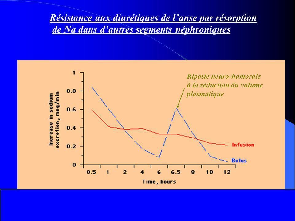 Résistance aux diurétiques de l'anse par résorption de Na dans d'autres segments néphroniques Riposte neuro-humorale à la réduction du volume plasmati