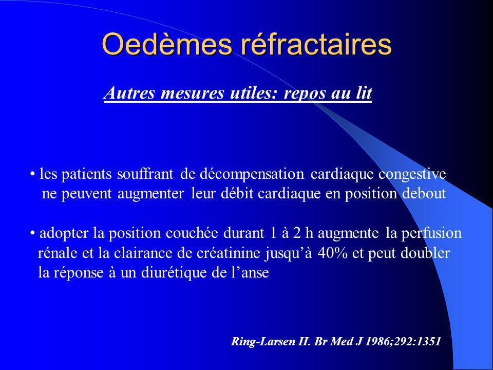 Oedèmes réfractaires Autres mesures utiles: repos au lit Ring-Larsen H. Br Med J 1986;292:1351 les patients souffrant de décompensation cardiaque cong