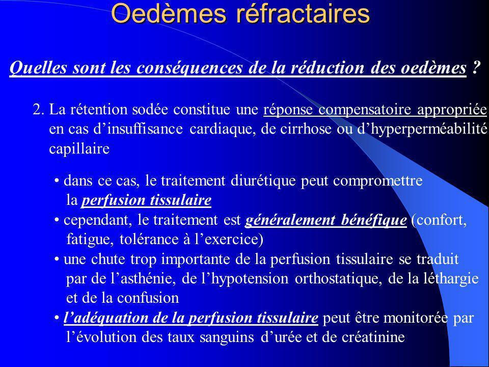 Oedèmes réfractaires Quelles sont les conséquences de la réduction des oedèmes ? dans ce cas, le traitement diurétique peut compromettre la perfusion
