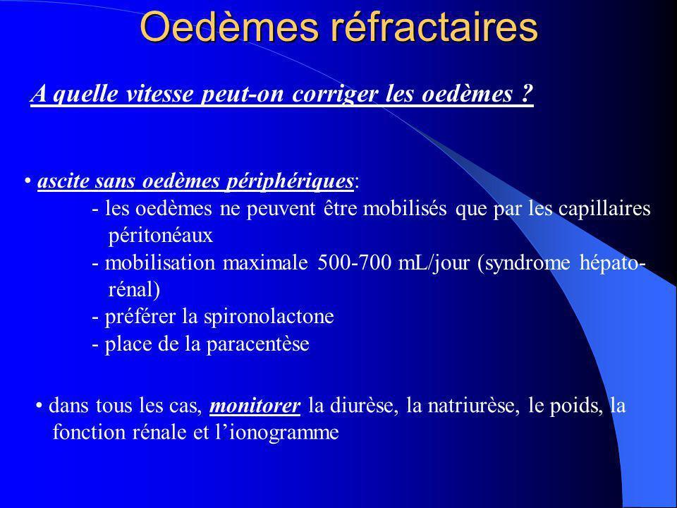 Oedèmes réfractaires A quelle vitesse peut-on corriger les oedèmes ? ascite sans oedèmes périphériques: - les oedèmes ne peuvent être mobilisés que pa
