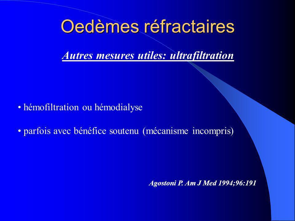Oedèmes réfractaires Autres mesures utiles: ultrafiltration Agostoni P. Am J Med 1994;96:191 hémofiltration ou hémodialyse parfois avec bénéfice soute