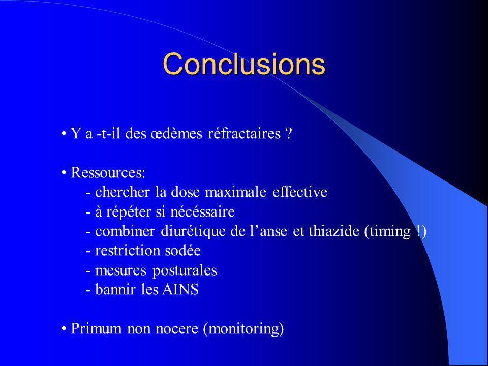 Conclusions Y a -t-il des œdèmes réfractaires ? Ressources: - chercher la dose maximale effective - à répéter si nécéssaire - combiner diurétique de l