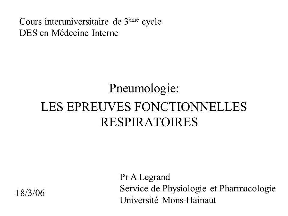 Pneumologie: LES EPREUVES FONCTIONNELLES RESPIRATOIRES 18/3/06 Pr A Legrand Service de Physiologie et Pharmacologie Université Mons-Hainaut Cours interuniversitaire de 3 ème cycle DES en Médecine Interne