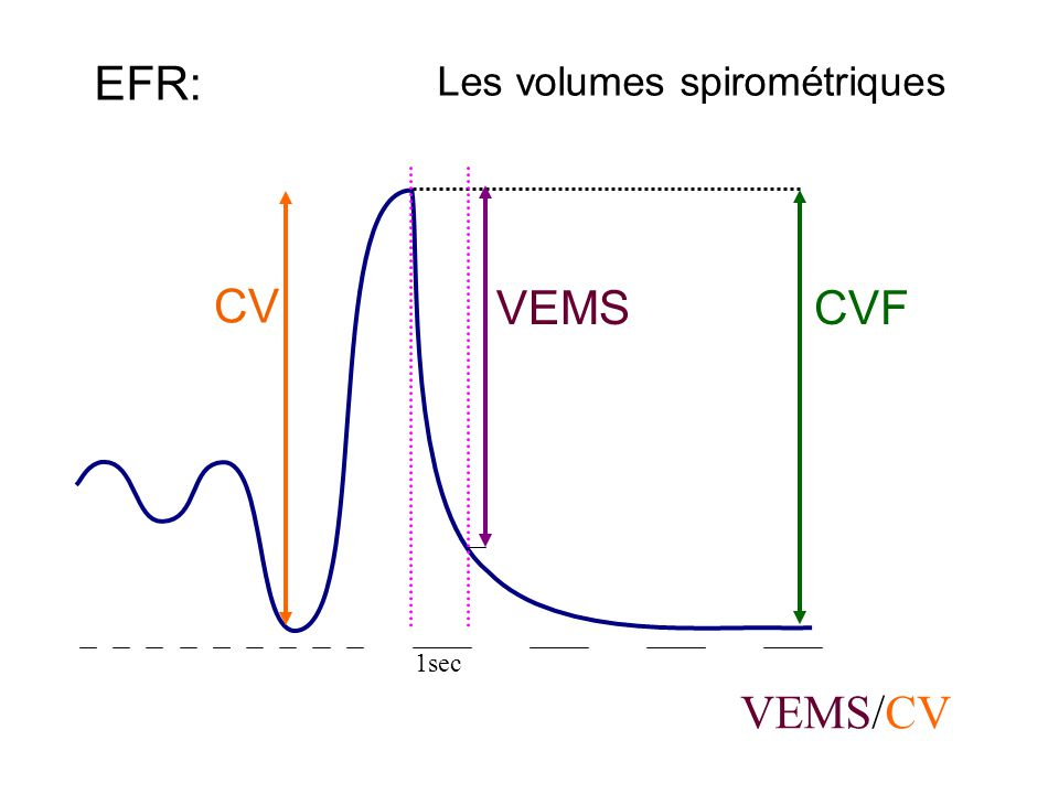 Les volumes spirométriques EFR: CV CVF VEMS VEMS/CV 1sec