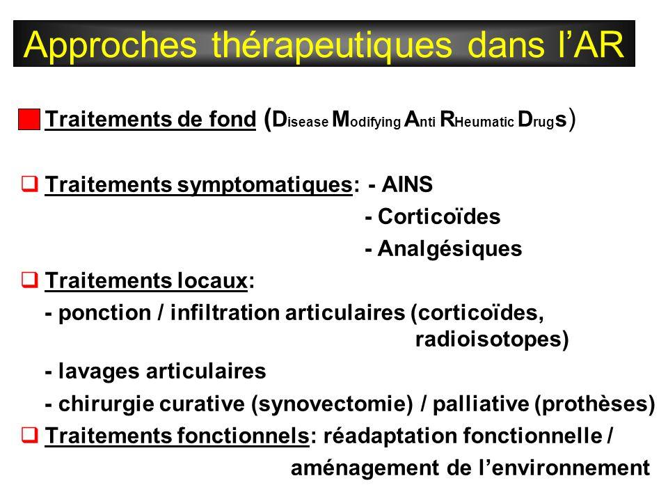  Traitements de fond ( D isease M odifying A nti R Heumatic D rug s )  Traitements symptomatiques: - AINS - Corticoïdes - Analgésiques  Traitements