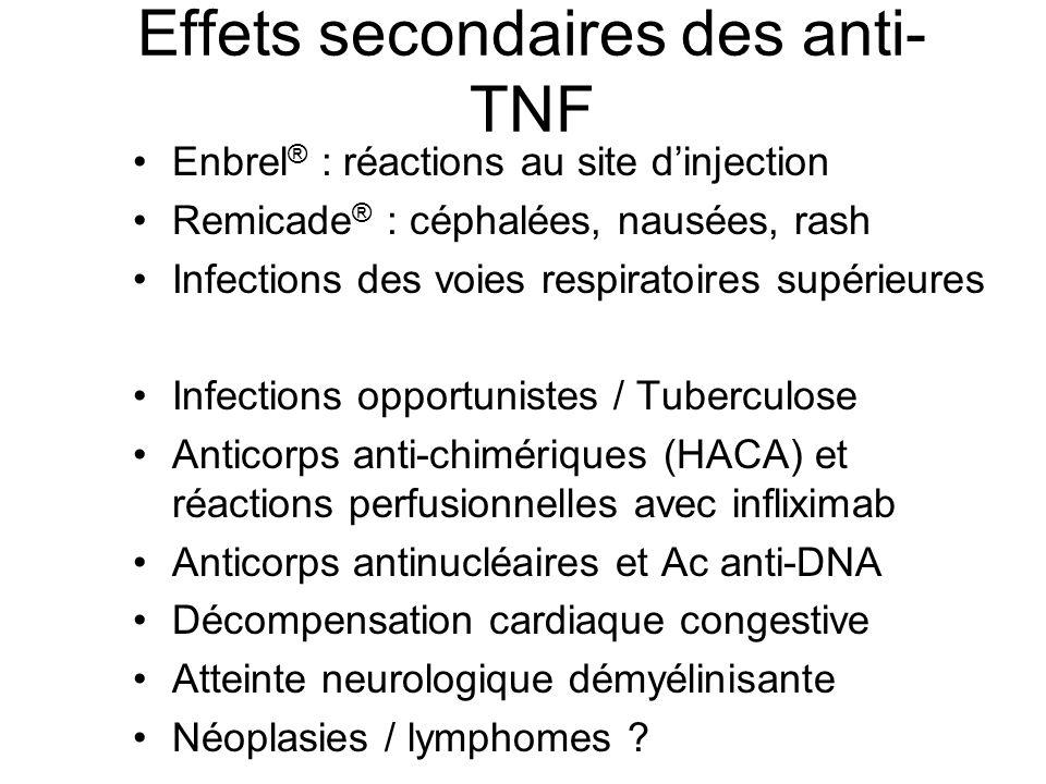 Effets secondaires des anti- TNF Enbrel ® : réactions au site d'injection Remicade ® : céphalées, nausées, rash Infections des voies respiratoires sup
