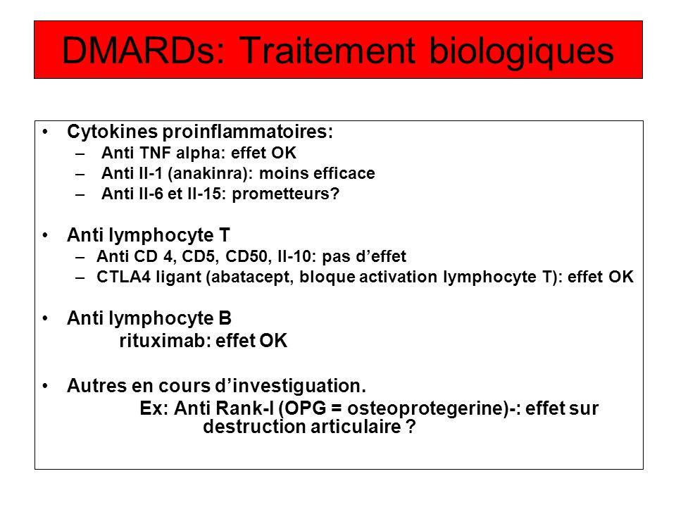 DMARDs: Traitement biologiques Cytokines proinflammatoires: – Anti TNF alpha: effet OK – Anti Il-1 (anakinra): moins efficace – Anti Il-6 et Il-15: pr