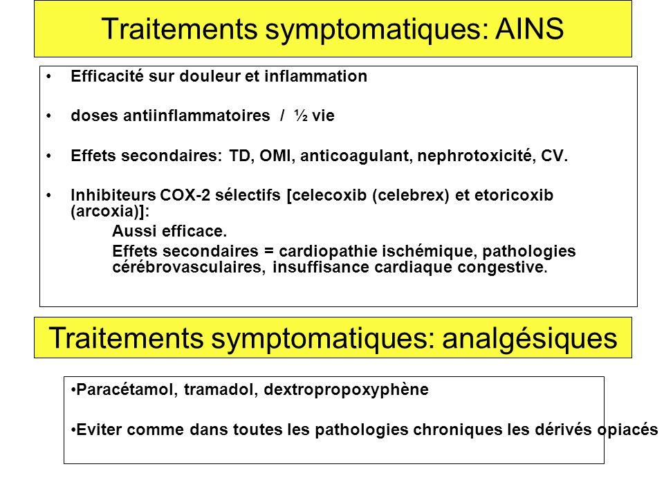 Traitements symptomatiques: AINS Efficacité sur douleur et inflammation doses antiinflammatoires / ½ vie Effets secondaires: TD, OMI, anticoagulant, n