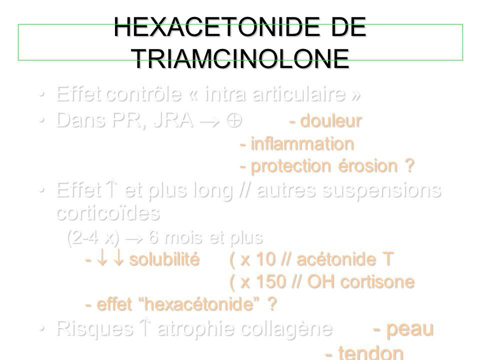 HEXACETONIDE DE TRIAMCINOLONE Effet contrôle « intra articulaire »Effet contrôle « intra articulaire » Dans PR, JRA   - douleurDans PR, JRA   - do