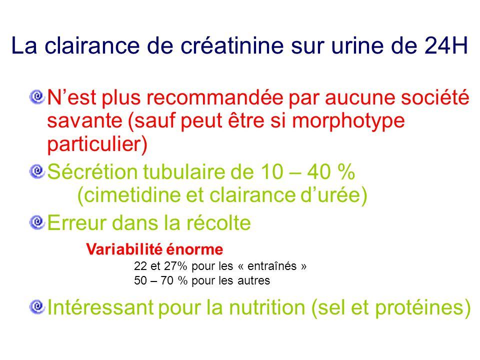 La clairance de créatinine sur urine de 24H N'est plus recommandée par aucune société savante (sauf peut être si morphotype particulier) Sécrétion tub