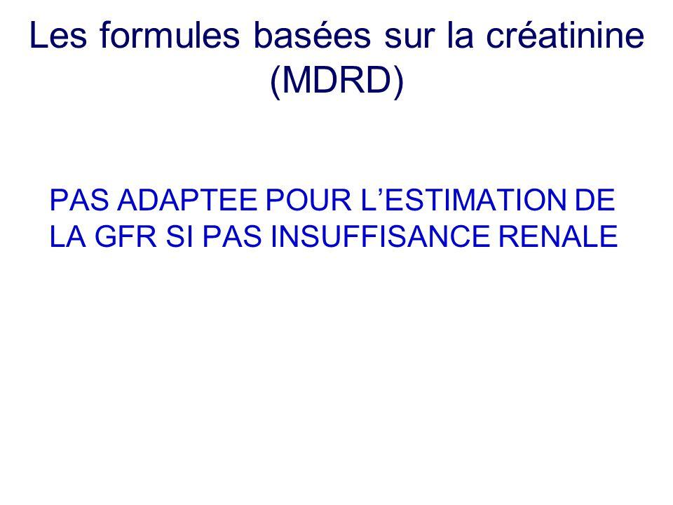 Les formules basées sur la créatinine (MDRD) PAS ADAPTEE POUR L'ESTIMATION DE LA GFR SI PAS INSUFFISANCE RENALE