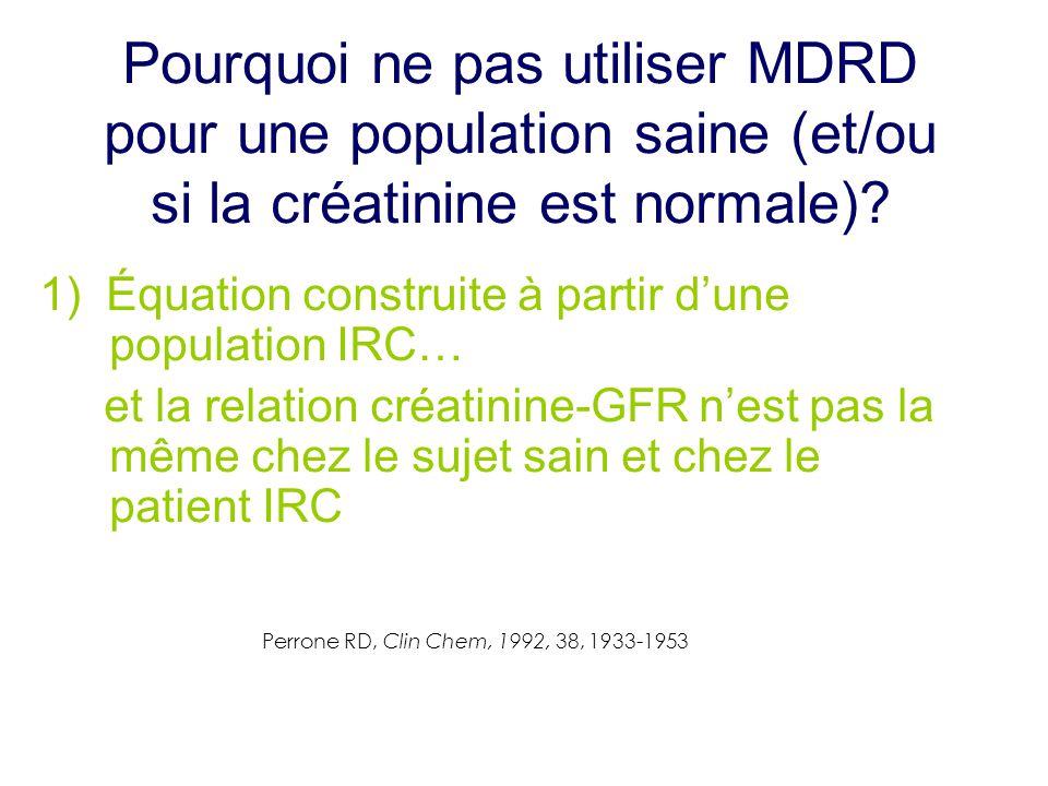 Pourquoi ne pas utiliser MDRD pour une population saine (et/ou si la créatinine est normale)? 1) Équation construite à partir d'une population IRC… et