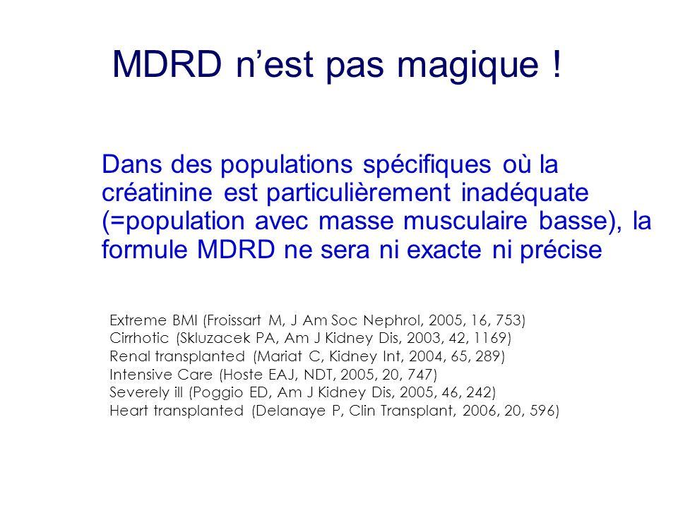 MDRD n'est pas magique ! Dans des populations spécifiques où la créatinine est particulièrement inadéquate (=population avec masse musculaire basse),