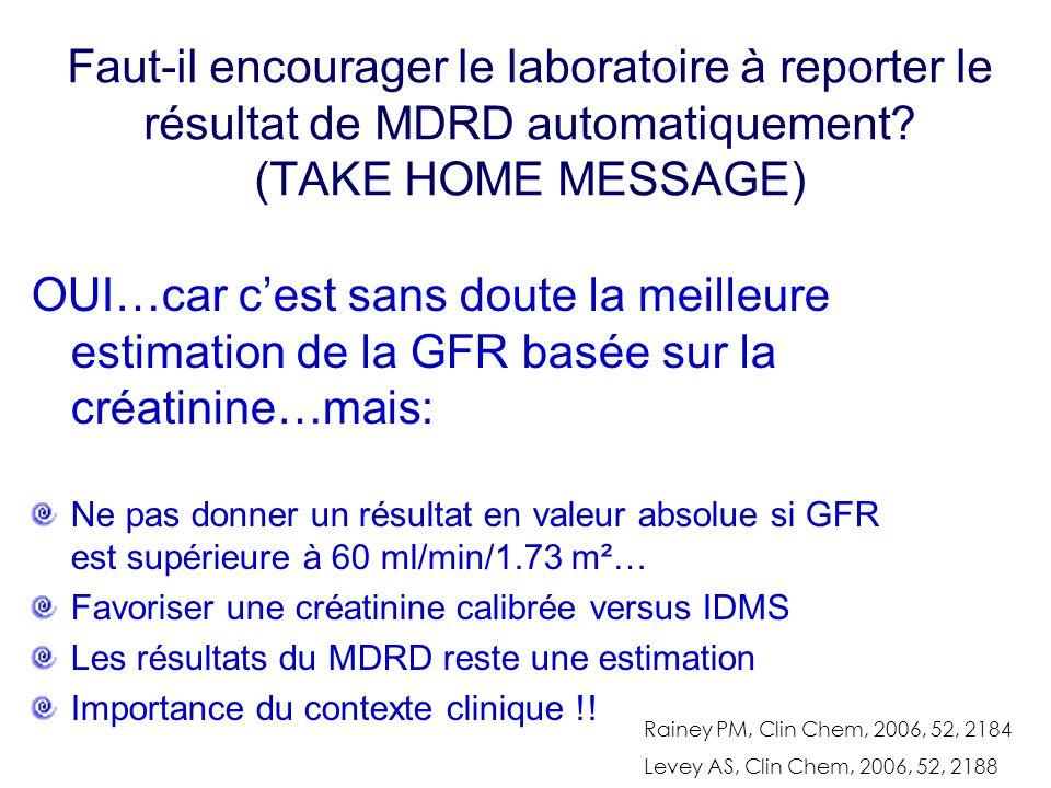 Faut-il encourager le laboratoire à reporter le résultat de MDRD automatiquement? (TAKE HOME MESSAGE) OUI…car c'est sans doute la meilleure estimation