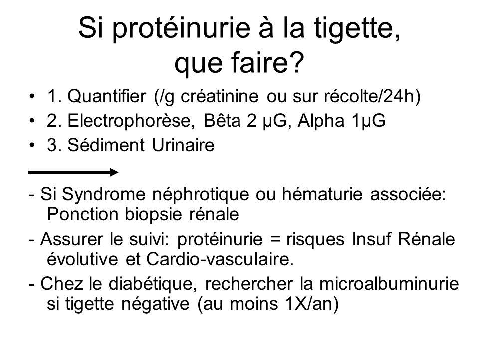 Si protéinurie à la tigette, que faire? 1. Quantifier (/g créatinine ou sur récolte/24h) 2. Electrophorèse, Bêta 2 µG, Alpha 1µG 3. Sédiment Urinaire