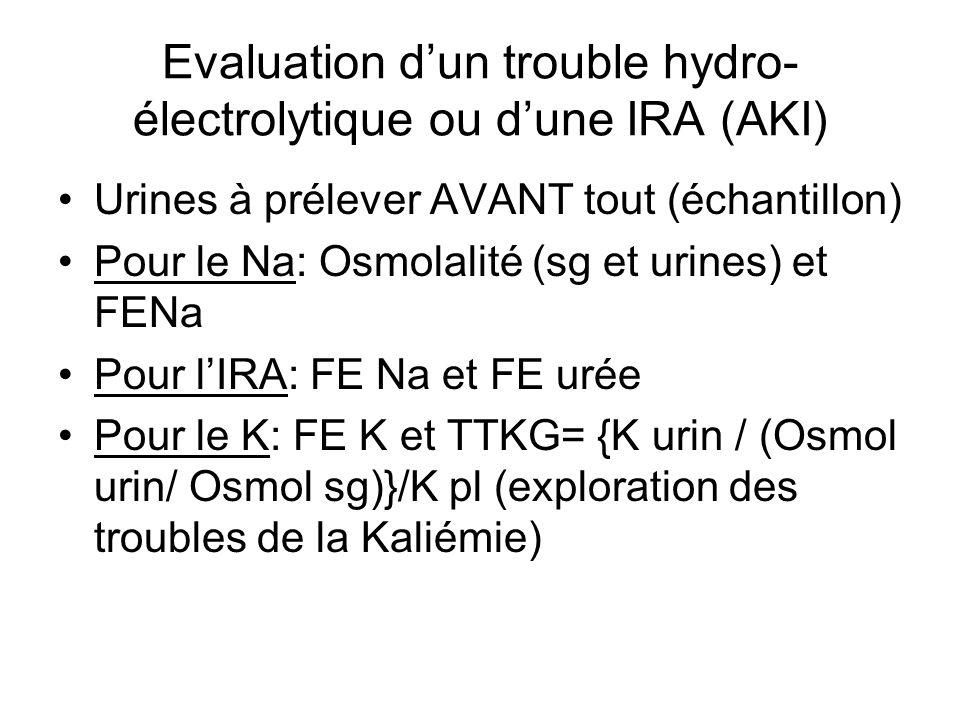 Evaluation d'un trouble hydro- électrolytique ou d'une IRA (AKI) Urines à prélever AVANT tout (échantillon) Pour le Na: Osmolalité (sg et urines) et F