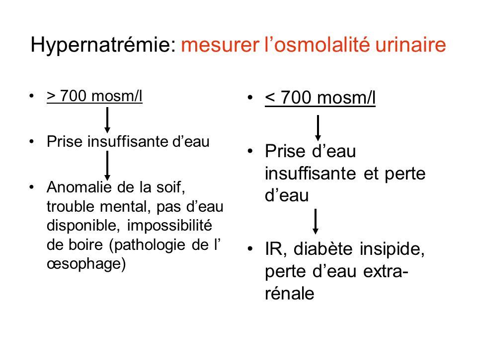 Hypernatrémie: mesurer l'osmolalité urinaire > 700 mosm/l Prise insuffisante d'eau Anomalie de la soif, trouble mental, pas d'eau disponible, impossib