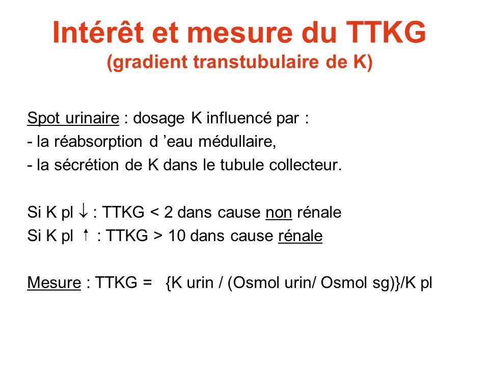 Intérêt et mesure du TTKG (gradient transtubulaire de K) Spot urinaire : dosage K influencé par : - la réabsorption d 'eau médullaire, - la sécrétion