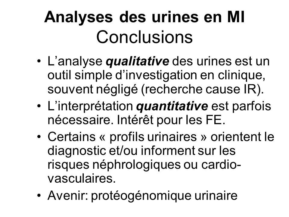 Analyses des urines en MI Conclusions L'analyse qualitative des urines est un outil simple d'investigation en clinique, souvent négligé (recherche cau
