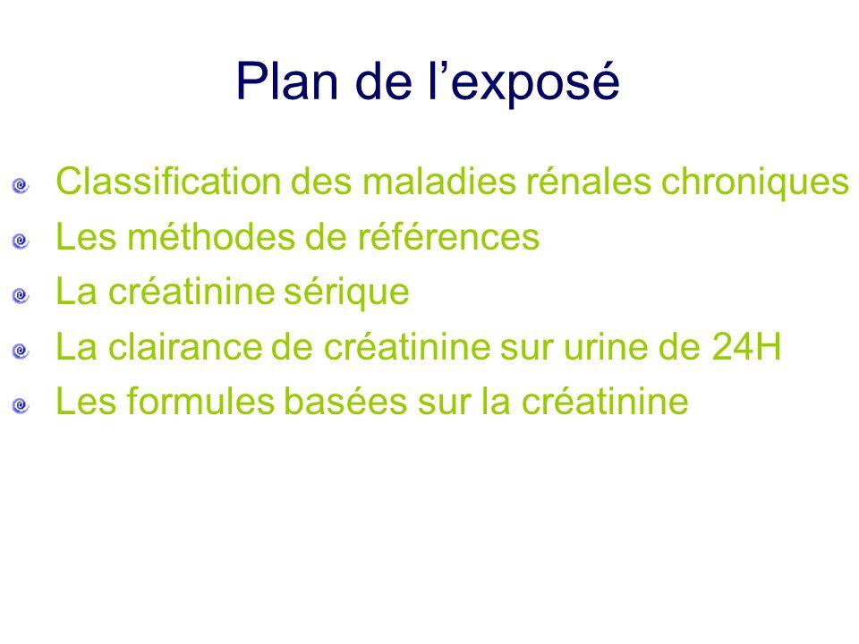 Plan de l'exposé Classification des maladies rénales chroniques Les méthodes de références La créatinine sérique La clairance de créatinine sur urine