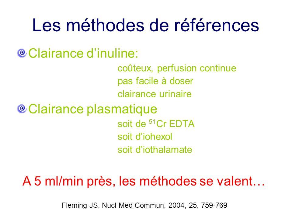 Les méthodes de références Clairance d'inuline: coûteux, perfusion continue pas facile à doser clairance urinaire Clairance plasmatique soit de 51 Cr