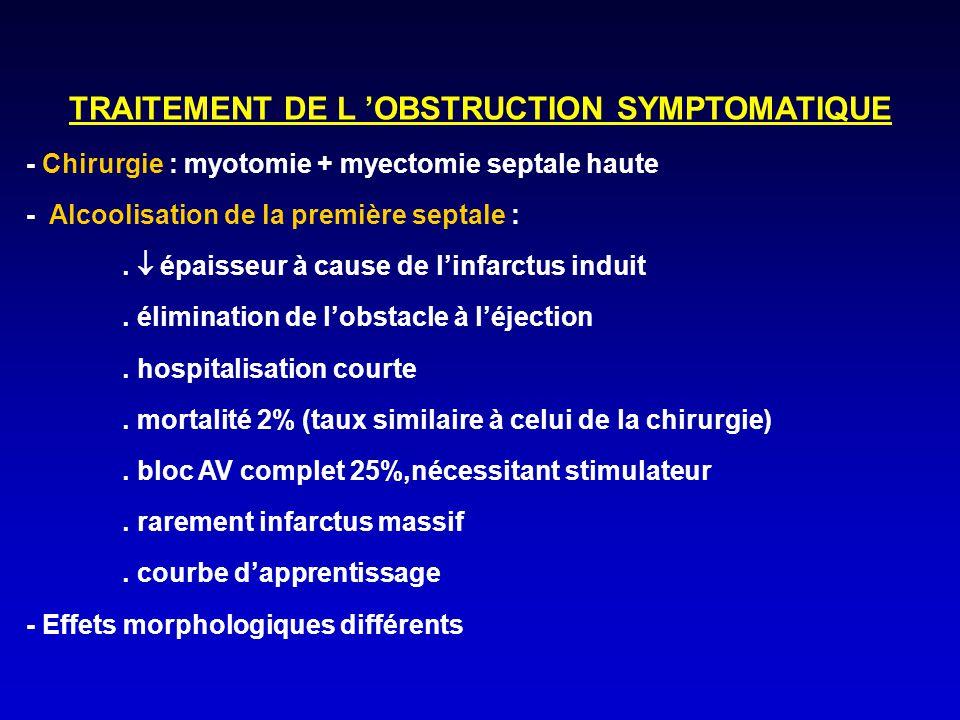 TRAITEMENT DE L 'OBSTRUCTION SYMPTOMATIQUE - Chirurgie : myotomie + myectomie septale haute - Alcoolisation de la première septale :.  épaisseur à ca