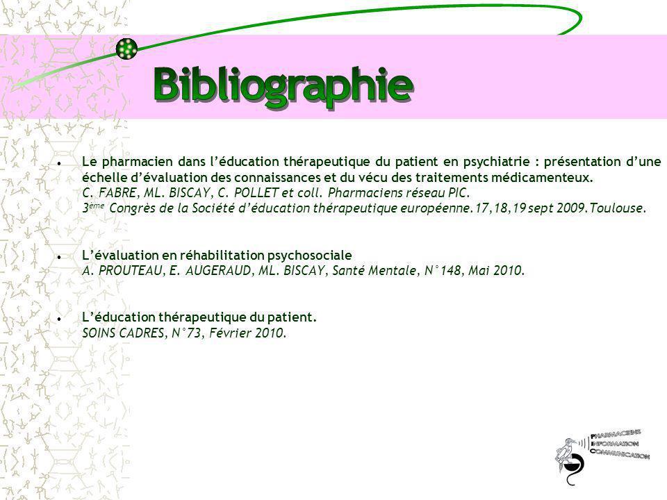 Le pharmacien dans l'éducation thérapeutique du patient en psychiatrie : présentation d'une échelle d'évaluation des connaissances et du vécu des trai