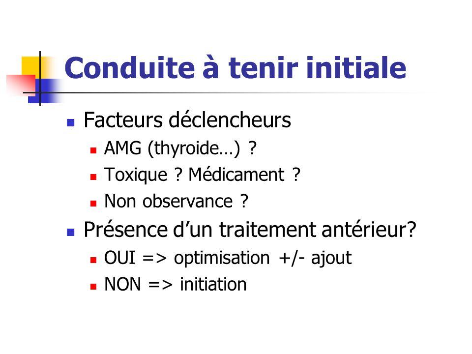 Conduite à tenir initiale Facteurs déclencheurs AMG (thyroide…) ? Toxique ? Médicament ? Non observance ? Présence d'un traitement antérieur? OUI => o