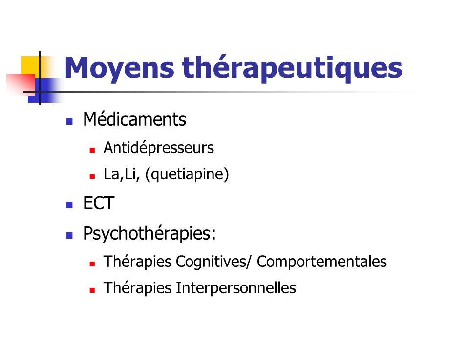 Moyens thérapeutiques Médicaments Antidépresseurs La,Li, (quetiapine) ECT Psychothérapies: Thérapies Cognitives/ Comportementales Thérapies Interperso