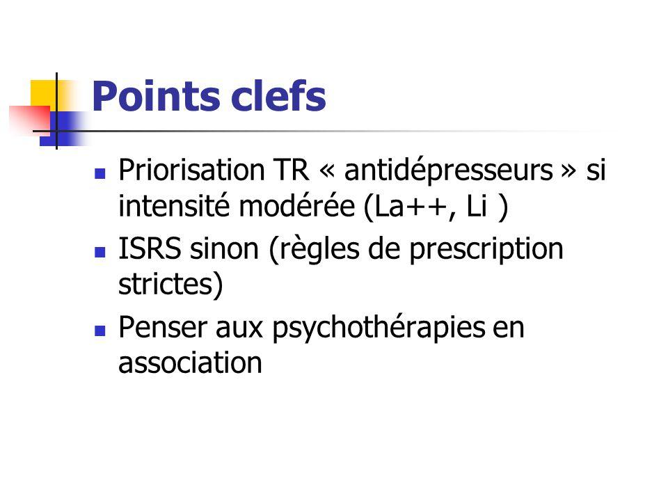 Points clefs Priorisation TR « antidépresseurs » si intensité modérée (La++, Li ) ISRS sinon (règles de prescription strictes) Penser aux psychothérap
