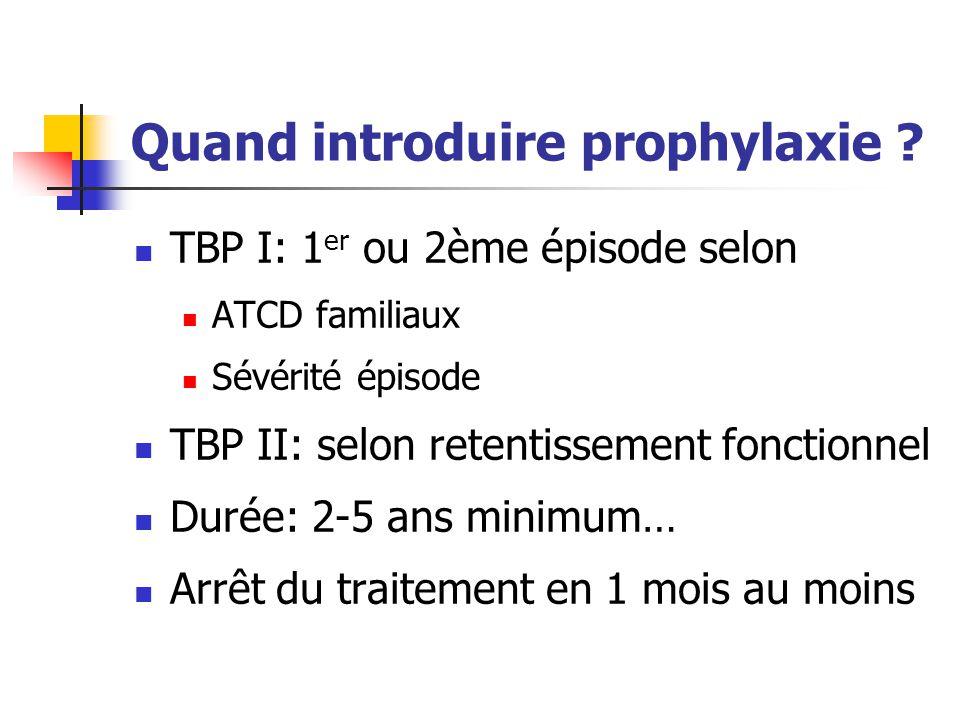 Quand introduire prophylaxie ? TBP I: 1 er ou 2ème épisode selon ATCD familiaux Sévérité épisode TBP II: selon retentissement fonctionnel Durée: 2-5 a