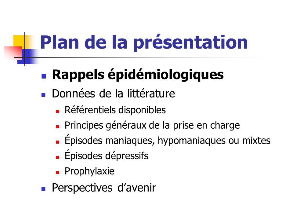 Plan de la présentation Rappels épidémiologiques Données de la littérature Référentiels disponibles Principes généraux de la prise en charge Épisodes