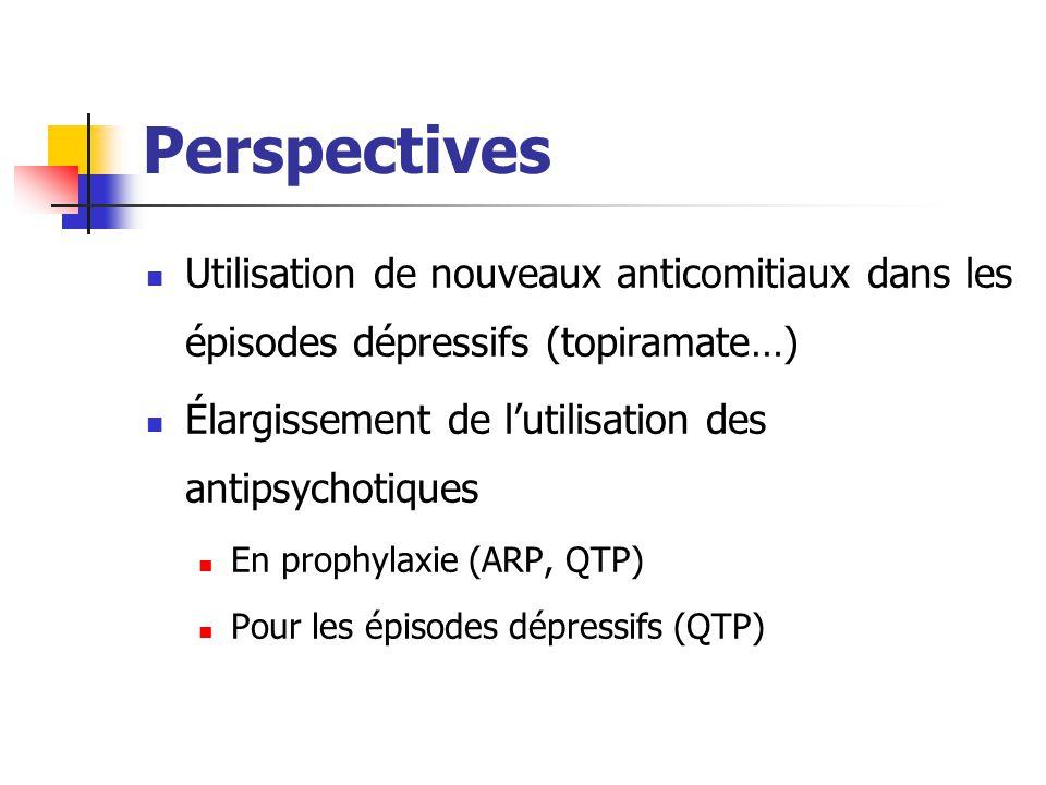 Perspectives Utilisation de nouveaux anticomitiaux dans les épisodes dépressifs (topiramate…) Élargissement de l'utilisation des antipsychotiques En p