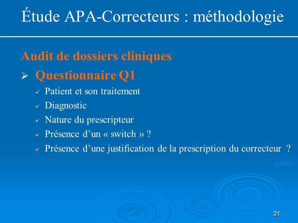 21 Audit de dossiers cliniques   Questionnaire Q1 Patient et son traitement Diagnostic Nature du prescripteur Présence d'un « switch » ? Présence d'