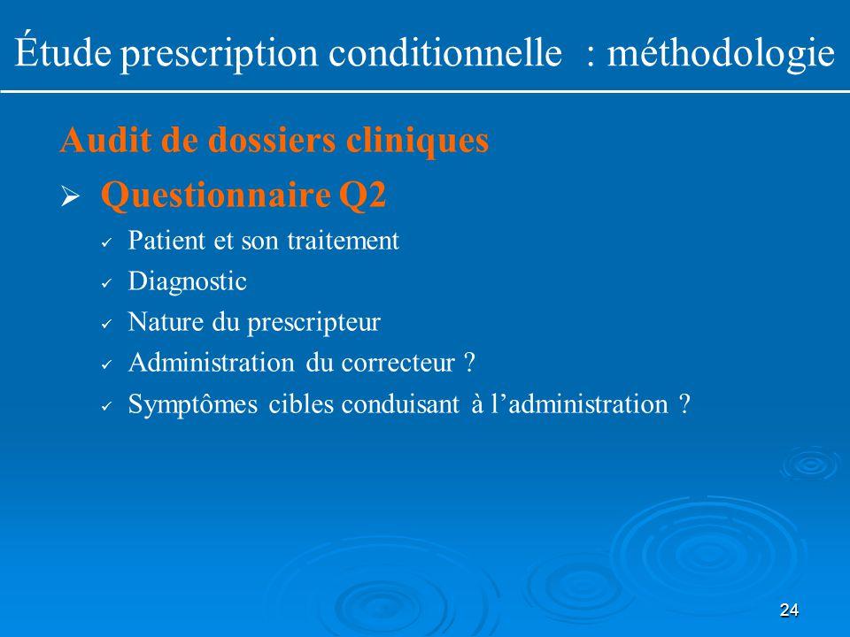 24 Audit de dossiers cliniques   Questionnaire Q2 Patient et son traitement Diagnostic Nature du prescripteur Administration du correcteur ? Symptôm