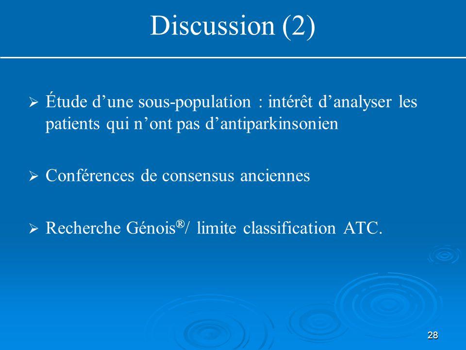 28   Étude d'une sous-population : intérêt d'analyser les patients qui n'ont pas d'antiparkinsonien   Conférences de consensus anciennes   Recherche Génois ® / limite classification ATC.