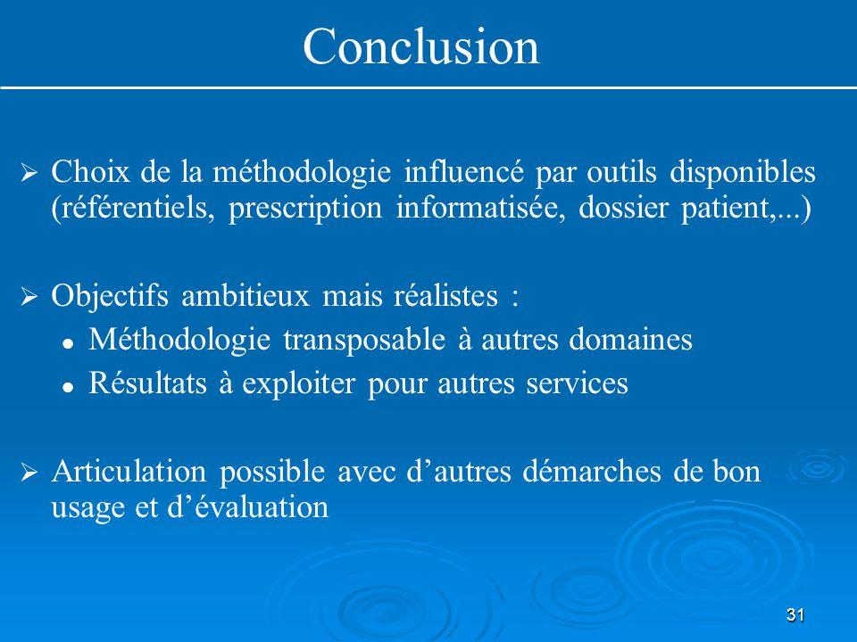 31   Choix de la méthodologie influencé par outils disponibles (référentiels, prescription informatisée, dossier patient,...)   Objectifs ambitieu