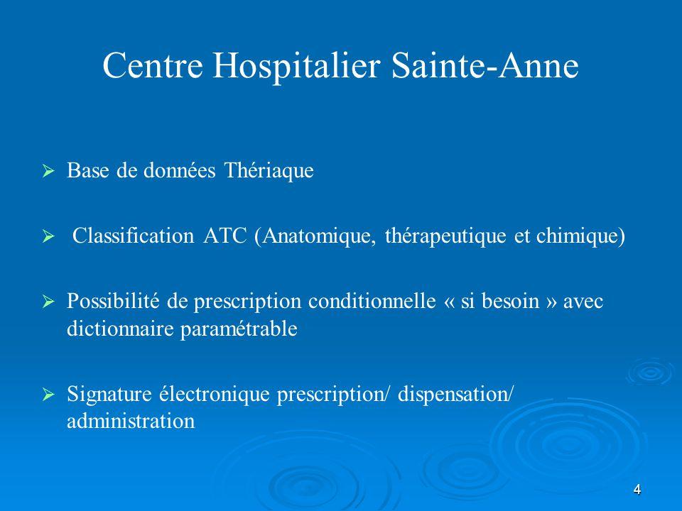5 Centre Hospitalier Sainte-Anne  N Système nerveux N05 Psycholeptiques N05 Psycholeptiques N05A AntipsychotiquesN05A Antipsychotiques N05AA phénothiazines à chaine aliphatique N05AA phénothiazines à chaine aliphatique N05AB phénothiazines de structure pipérazinique N05AB phénothiazines de structure pipérazinique N05AC phénothiazines de structure pipéridinique N05AC phénothiazines de structure pipéridinique N05AD dérivés de la butyrophénone N05AD dérivés de la butyrophénone N05AF dérivés du thioxanthène N05AF dérivés du thioxanthène N05AG dérivés du thioxanthène N05AG dérivés du thioxanthène N05AG dérivés de la diphénylbutylpipéridine N05AG dérivés de la diphénylbutylpipéridine N05AH diazépine,oxazépine et thiazépines N05AH diazépine,oxazépine et thiazépines N05AL benzamides N05AL benzamides N05AX autres antipsychotiques N05AX autres antipsychotiques