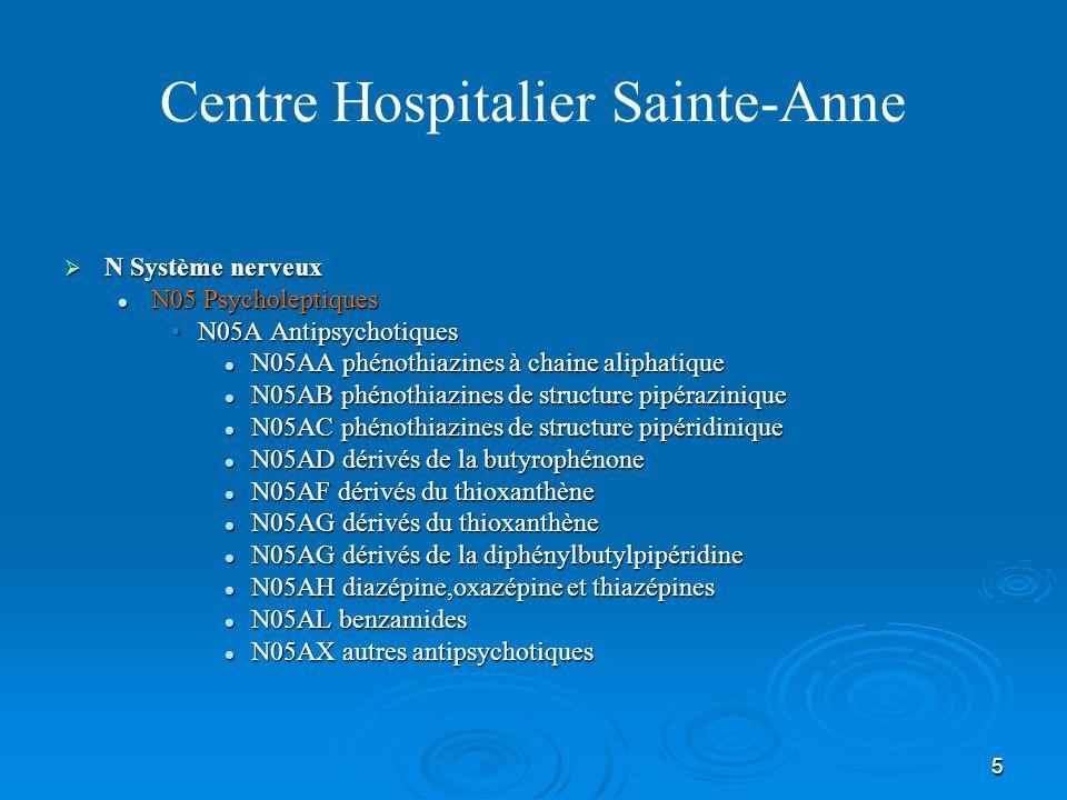 5 Centre Hospitalier Sainte-Anne  N Système nerveux N05 Psycholeptiques N05 Psycholeptiques N05A AntipsychotiquesN05A Antipsychotiques N05AA phénothi