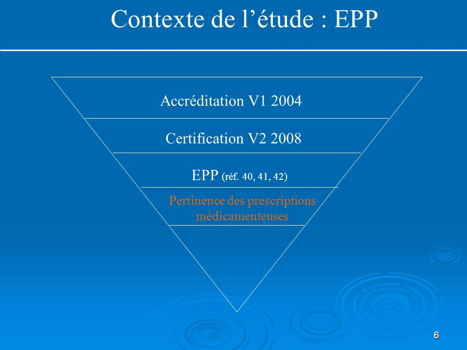 6 Accréditation V1 2004 Pertinence des prescriptions médicamenteuses EPP (réf. 40, 41, 42) Contexte de l'étude : EPP Certification V2 2008