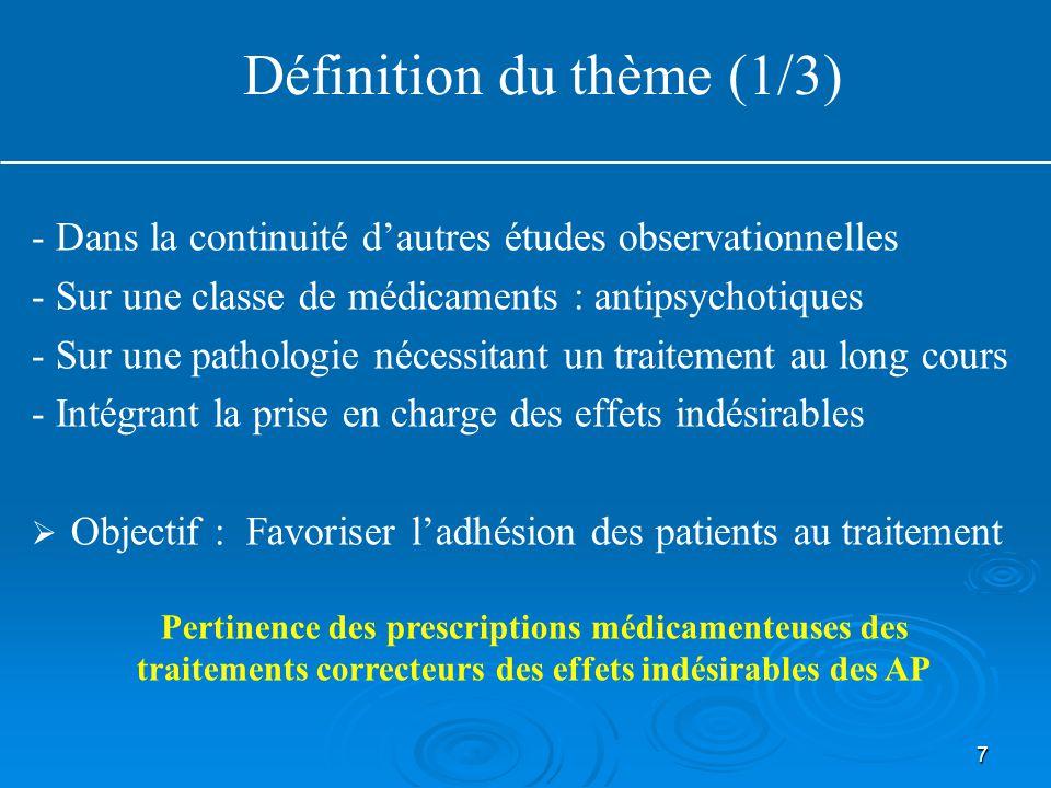 7 Définition du thème (1/3) - Dans la continuité d'autres études observationnelles - Sur une classe de médicaments : antipsychotiques - Sur une pathol