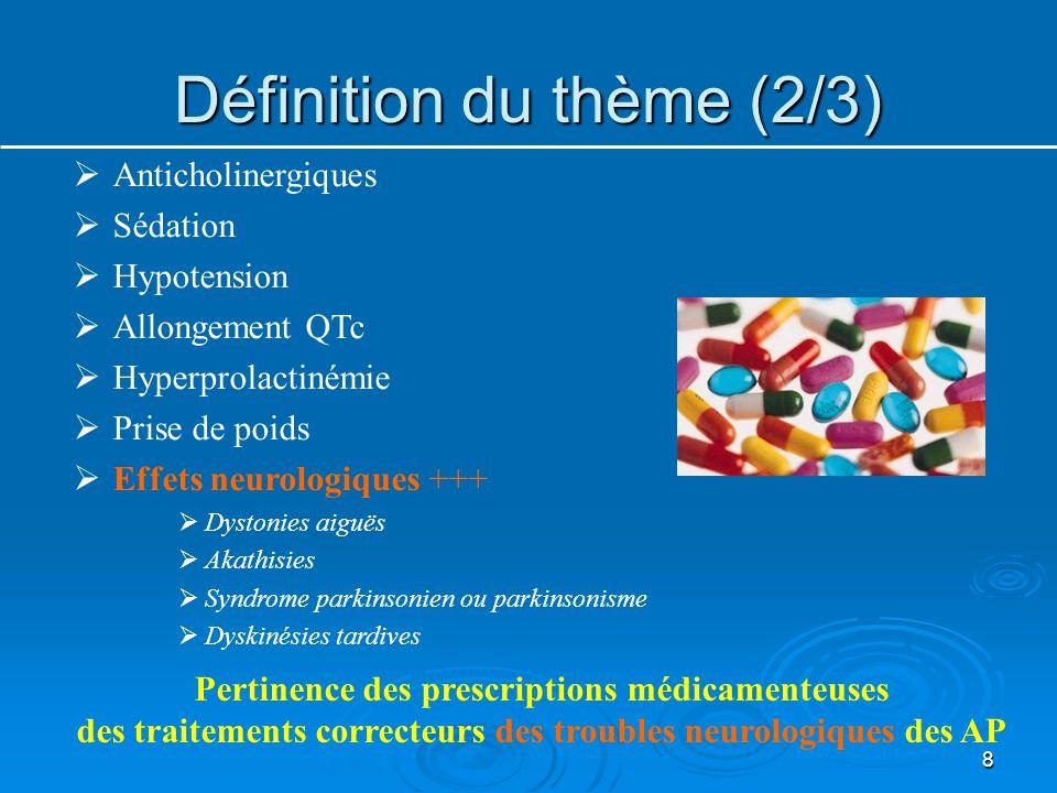 Définition du thème (2/3) 8  Anticholinergiques  Sédation  Hypotension  Allongement QTc  Hyperprolactinémie  Prise de poids  Effets neurologiqu