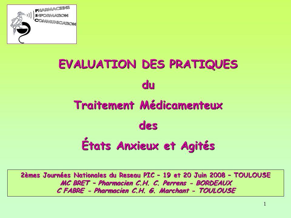 1 EVALUATION DES PRATIQUES du Traitement Médicamenteux des États Anxieux et Agités 2èmes Journées Nationales du Reseau PIC – 19 et 20 Juin 2008 – TOUL