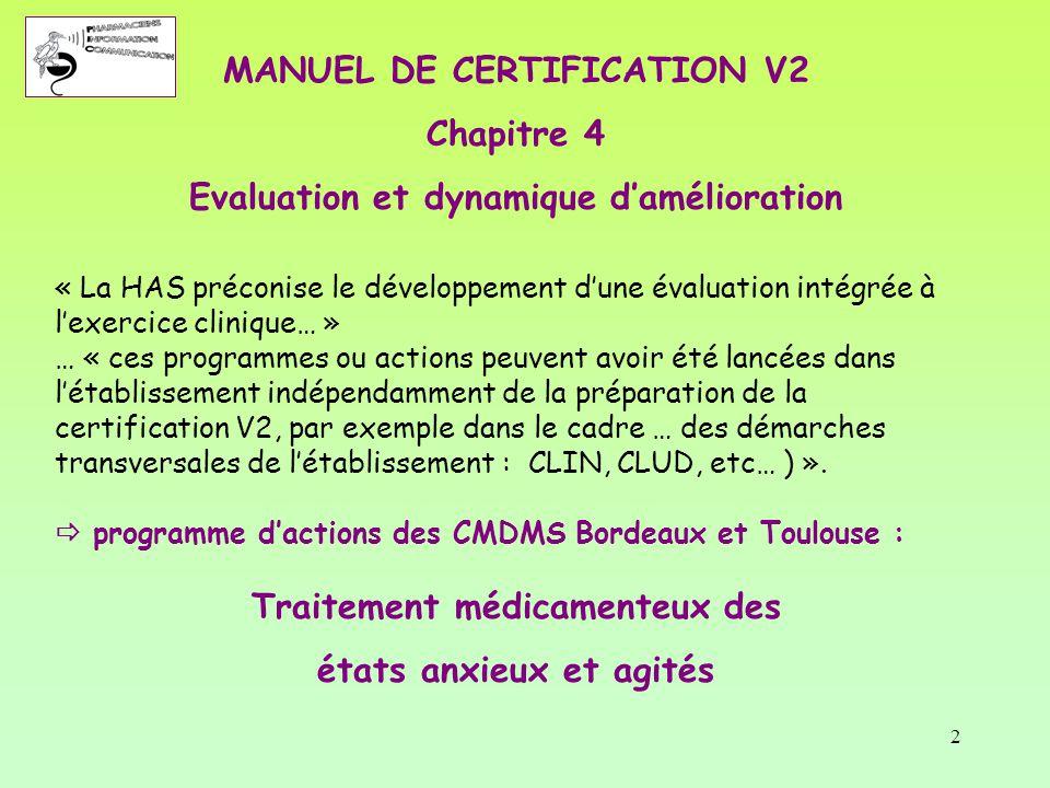 2 MANUEL DE CERTIFICATION V2 Chapitre 4 Evaluation et dynamique d'amélioration « La HAS préconise le développement d'une évaluation intégrée à l'exerc
