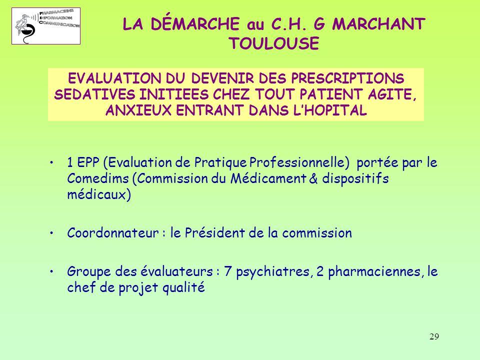 29 EVALUATION DU DEVENIR DES PRESCRIPTIONS SEDATIVES INITIEES CHEZ TOUT PATIENT AGITE, ANXIEUX ENTRANT DANS L'HOPITAL 1 EPP (Evaluation de Pratique Pr