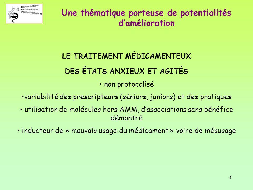 4 LE TRAITEMENT MÉDICAMENTEUX DES ÉTATS ANXIEUX ET AGITÉS non protocolisé variabilité des prescripteurs (séniors, juniors) et des pratiques utilisatio