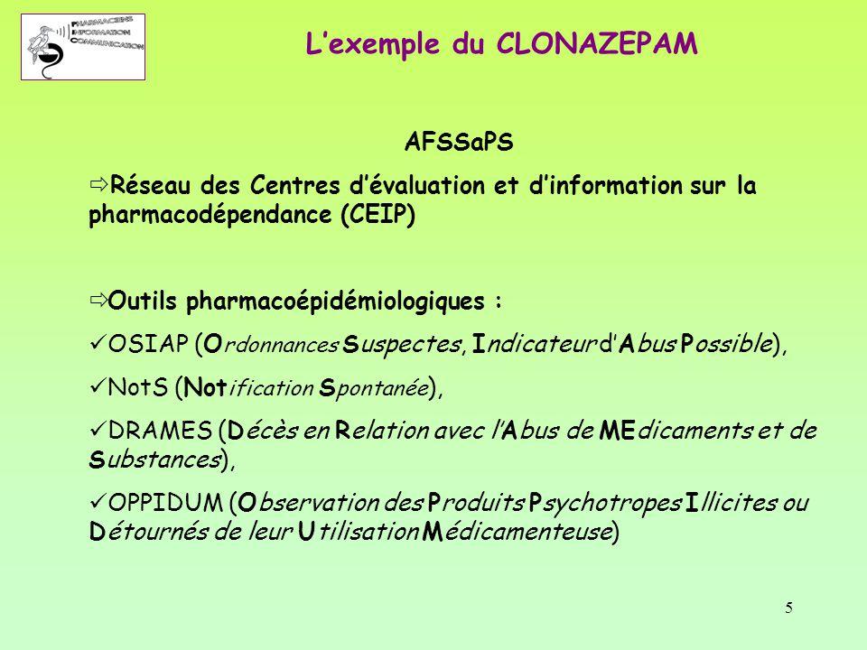 5 AFSSaPS  Réseau des Centres d'évaluation et d'information sur la pharmacodépendance (CEIP)  Outils pharmacoépidémiologiques : OSIAP (O rdonnances
