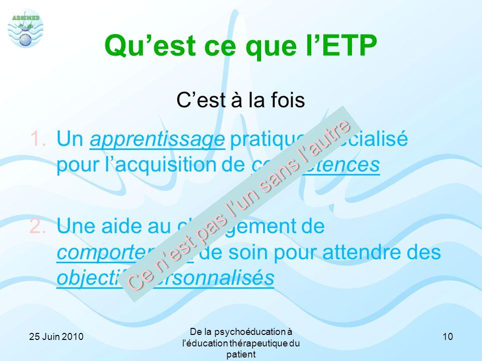 Qu'est ce que l'ETP C'est à la fois 1.Un apprentissage pratique spécialisé pour l'acquisition de compétences et 2.Une aide au changement de comporteme