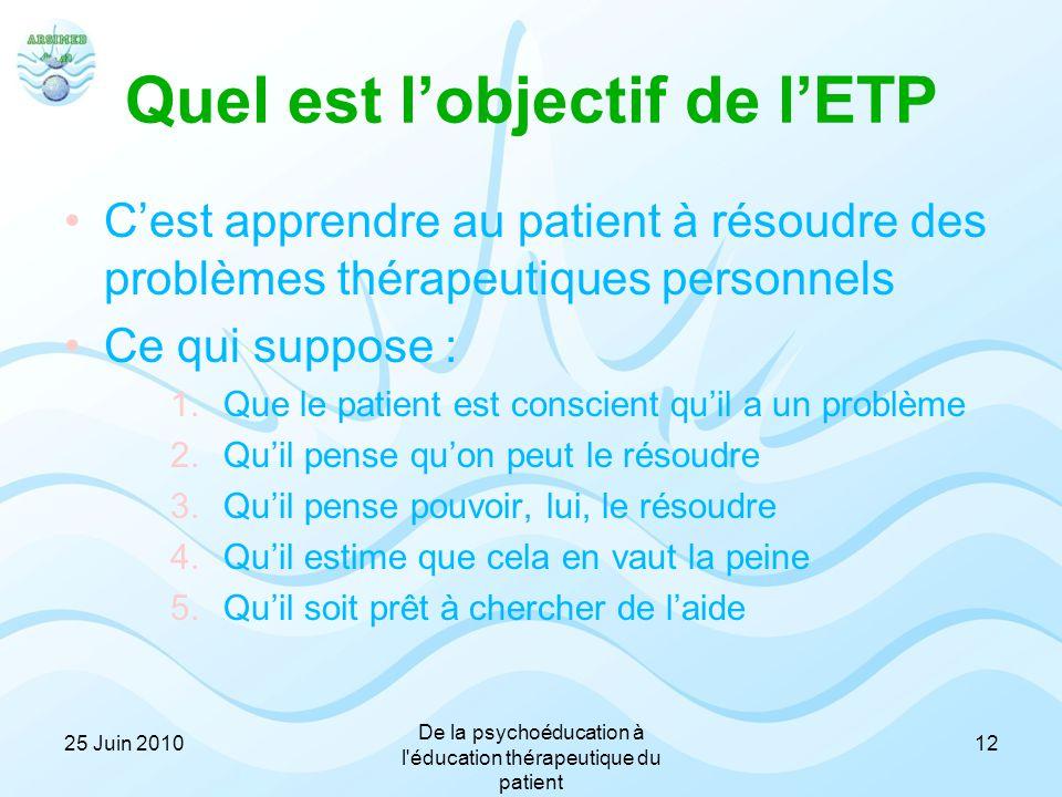 Quel est l'objectif de l'ETP C'est apprendre au patient à résoudre des problèmes thérapeutiques personnels Ce qui suppose : 1.Que le patient est consc